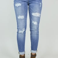 Distressed Boyfriend Skinny Jean