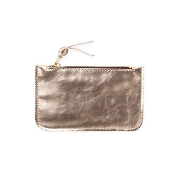 Gold leather coin purse, leather wallet, women wallet by Leah Lerner