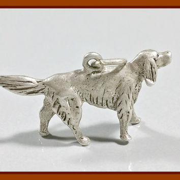 Vintage Silver Charm Dog Hunting Irish Setter Family Pet Canine Companion Sterling Charm Bracelet Charm or Necklace Pendant Adornment