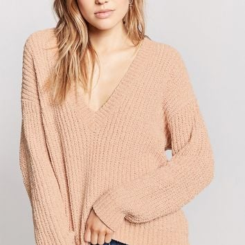 Plunging Chenille Sweater