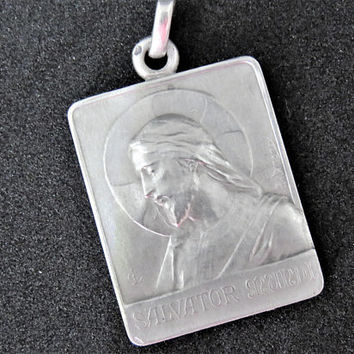 Vintage French, Silver Salvator Mundi, Pendant, Dropsy, 1920 Paris