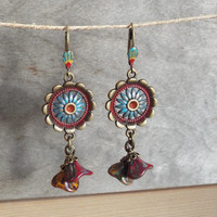 Bohemian Floral Dangle Earrings Bohemian Floral Colorful Hippie