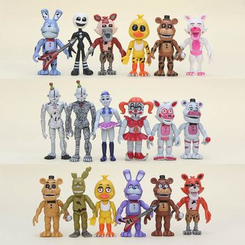 10cm 6Pcs/set FANF Five Nights At Freddy's figure Toy Nightmare Mangle Foxy Freddy Bear Chica Bonnie plush Figures Toys as Gifts