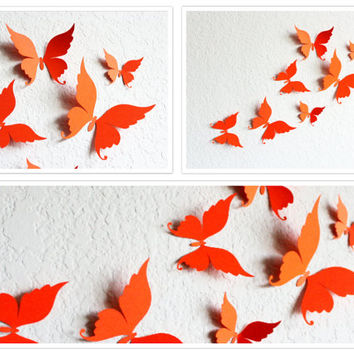 3D Butterflies , 3d Butterfly Wall art , Paper Butterflies , Orange Wall Art , Butterfly wall decor , Wall Decor , Butterfly Wall Decor