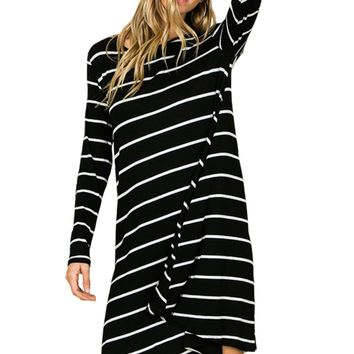 Swing Dress with Elbow Patch Striped