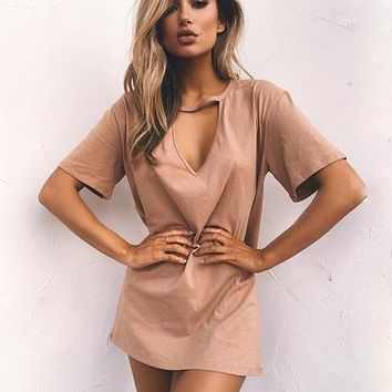 Sexy Solid Beach Cover Up Women Bikini Swimsuit Cover Up Beach T-shirt Tunics Bathing Suits Swimwear