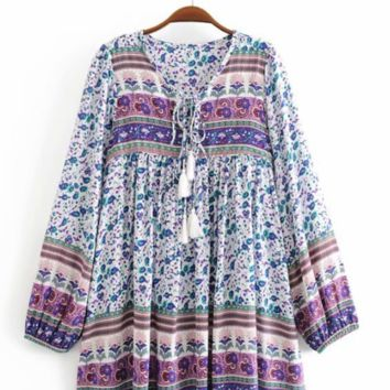 Autumn cotton positioning printing bohemian mid-length dress