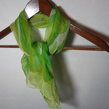 Vintage Women's Rectangular Sheer Chiffon Polyester Hair or Neck Scarf with Abstract Design - White and Multiple Shades of Green