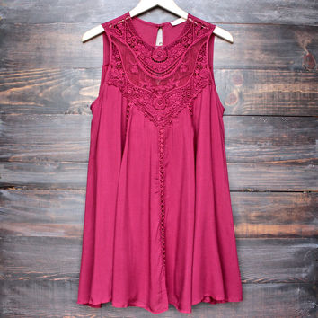 burgundy boho crochet lace dress