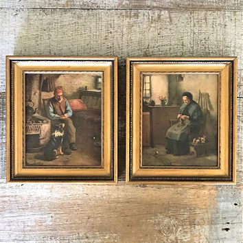 Wall Art 2 Small Prints of a Man and Woman Wood Frame Wall Art Gold Frame Wall Art Antique Prints Cottage Chic Art