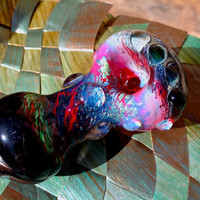 Glass Pipe handmade! One of a kind! Silver fumed honeycomb style!