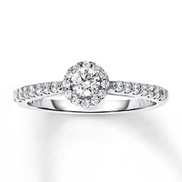 Diamond Engagement Ring 1/2 ct tw Round-cut 14K White Gold