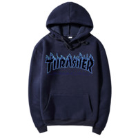 """Thrasher""Quality hooded sweater flame slide hip sweater Navy blue"
