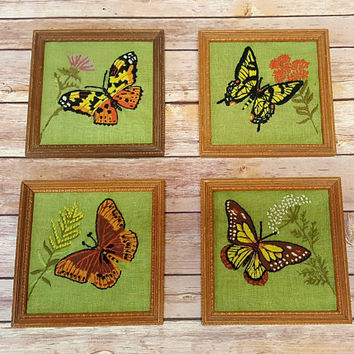 Vintage Framed Butterfly Crewel Set - Set of 4 - 1970s Crewel Art - Embroidery Craft - Boho Style - Bohemian Chic - Flowers - Floral