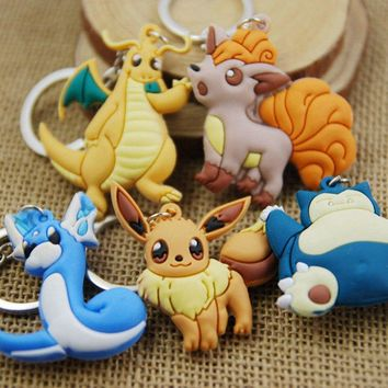 Movie Game Series Eevee Snorlax Dragonite Pendant Key chains Keyring For Kids Gift Toy Figure Keychain