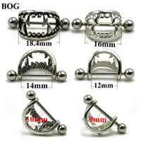 BOG-Pair 316L Surgical Steel Sexy Love Bite Fangs Vampire Fang Nipple Shield Cap Piercing Ring Body Jewelry