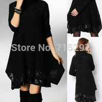 2014 new arriving autumn and winter casual all-match cotton lace big size long-sleeve two pcs set loose slimming elegant dress