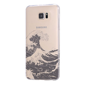 Ocean Wave Samsung Galaxy S6 Edge Clear Case Galaxy S6 Transparent Case Samsung S5 Hard Cover C0003