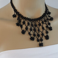 Handmade beaded  necklace ,hand crochet black necklace, beadwork necklace,statement necklace,bib necklace, gift for her,
