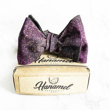Hanamel Handmade Purple Galaxy Self Tie Freestyle Bow Tie - Stardust Self Tie Bow Tie - Wedding Purple Bow Tie - Purple Space Galaxy Bow Tie