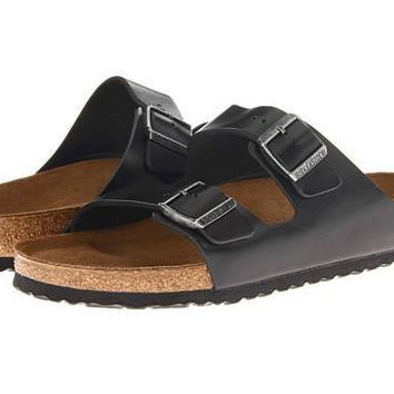 Birkenstock Arizona Soft Footbed Black Amalfi Leather - Beauty Ticks