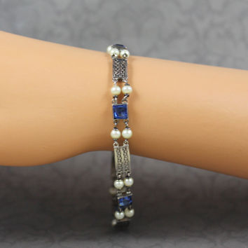 Vintage Czechoslovakia Faceted Blue Glass and Faux Pearl Silver Filigree Linked Bracelet