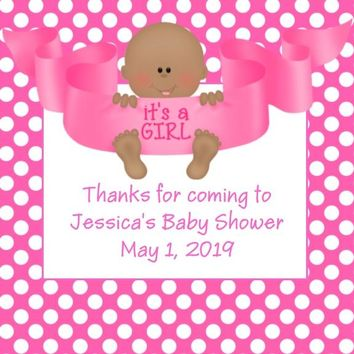 Its A Girl Baby Shower Favor Tags Dark Skin