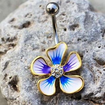 Jeweled Hibiscus Flower Navel Ring