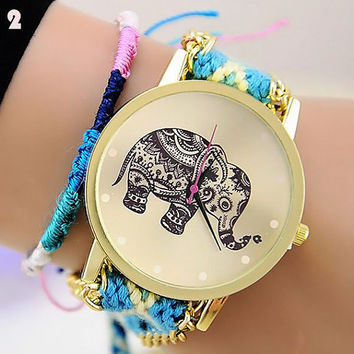 Ladies Elephant Wrist Watch Bracelet