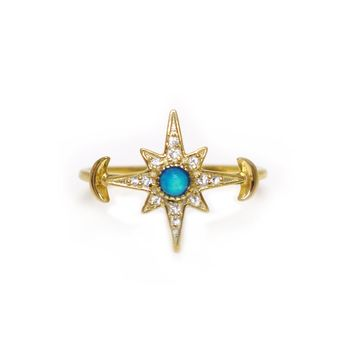 Blue Opal & Diamond Royal Stargazers Ring