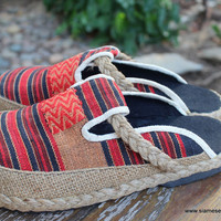 Sydney Womens Embroidered Shoes in Red And Tan Ethnic Naga Textiles