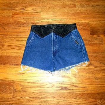 Vintage Denim Cut Offs - 80s Black/Dark Wash Denim Two Tone Jean Shorts - High Waisted SHORT Shorts/Daisy Dukes  - Size 5/6