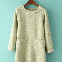 Gold Stitching Accent Long Sleeve Double Pocket Wool Dress