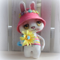 Bunny hand painted  cloth doll for Spring