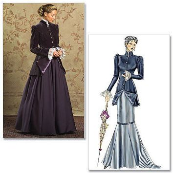 Plus Size Steampunk Dress Victorian Dress Edwardian Dress Costume Sewing Pattern Butterick  4954, Sizes 16-22 uncut