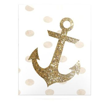 "Kess InHouse Nika Martinez ""Glitter Anchor"" Luxe Rectangle Panel, 24 by 36-Inch, Gold Sparkles"