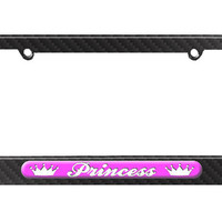 Princess - Crowns Spoiled License Plate Tag Frame - Carbon Fiber Patterned Finish