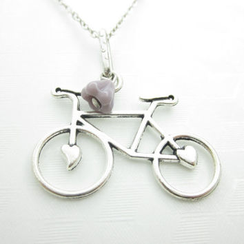 Bicycle Necklace, Bike Necklace, Silver Bicycle, Biker Charm Necklace, Vintage Style, Romantic Jewelry X060