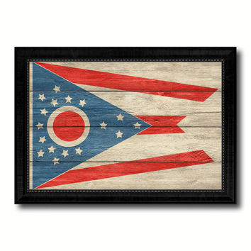 Ohio State Flag Texture Canvas Print with Black Picture Frame Home Decor Man Cave Wall Art Collectible Decoration Artwork Gifts