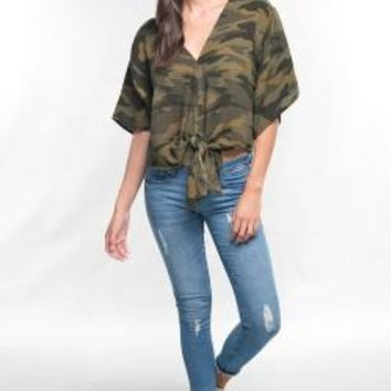 Camouflage print, double gauze tie front kimono sleeve blouse with v-neckline.