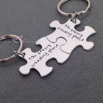 Couples Key Chains, You are my missing piece, Long Distance Relationship, LDR Gift