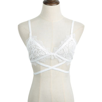 White Sheer Lace Cross-Strap Bralette