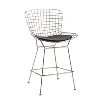 Wire Counter Height Chair, Black Stainless Steel