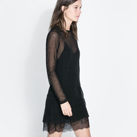 DOUBLE LAYER LINGERIE STYLE AND MESH DRESS - Dresses - WOMAN | ZARA United States
