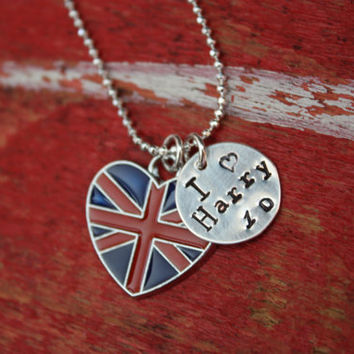 I love Harry Styles One Direction  - as featured in Decembers Bop Magazine British Flag Charm Necklace Pendant