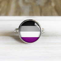Asexual Pride Ring- Adjustable Silver Ring - 14mm