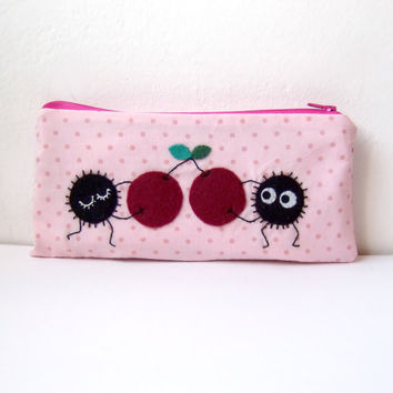 Soot sprite (kurosuke) with cherries pouch / coin purse, wallet from my neighbor totoro / spirited away with stars