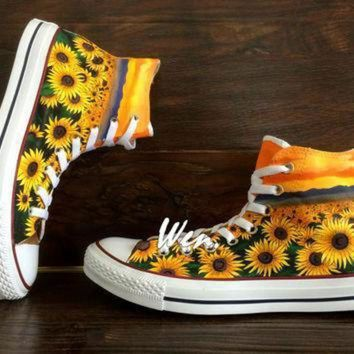 CREYON wen original design sunflower shoes floral converse floral shoes painted shoes sunflow