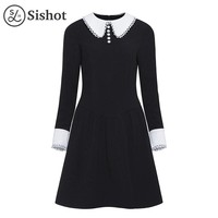 Women vintage dresses autumn black a line knee length peter pan collar retro dress
