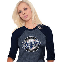 Kansas City Royals T-Shirt - Navy Blue Royals Raglan Long Sleeve Crew